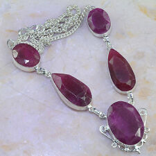 BEAUTIFUL GENUINE NATURAL HUGE FACETED 19X29MM CHERRY RUBY SILVER NECKLACE 19.5