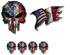 Mexican American Mexico Usa Flag Skull Vinyl Decal Window Sticker Car Truck 3M