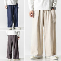 Mens Casual Cotton Linen Vintage Baggy Yoga Slacks Solid Loose Pants Trousers