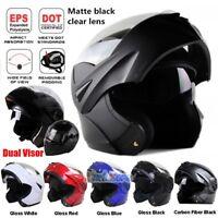 DOT Full Face Flip up Motorcycle Helmet Dual Visor Street Sport Bike Race M/L/XL