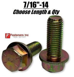"""7/16-14 Grade 8 Flange Frame Bolt Yellow Zinc Plated (All Sizes & Qty's) 7/16"""""""
