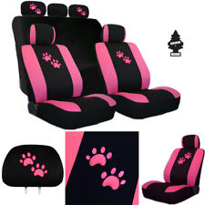 New Embroidery Pink Paws Car Auto Truck Seat Cover Gift Full Set For Ford