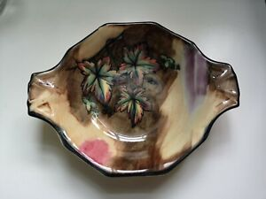 Vintage H & K Tunstall Autumn Tints leaf design dish artist signed C1930s