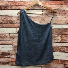 NEW Ann Taylor LOFT Women's Denim One-Shoulder Linen Top. Size Small.