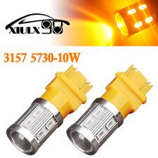 2x Amber/Yellow 3157 3156 High Power 10W 5730 LED Turn Signal Blinker Light Bulb