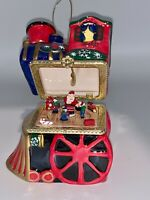 "Colorful Train Music Box / Ornament - Opens to See Kids Circling Santa 4"" EUC"