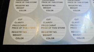 Round Gemstone Jar Display SELF ADHESIVE LABELS-PRE PRINTED GEM IDENTIFICATION