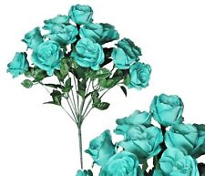 "12-Aqua Rose 20"" Bouquet Wedding Bridal Party Home Decor Artificial Silk Flower"