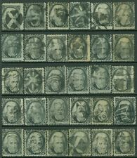 USA : 1863. Scott #73 Beautiful study of 30 stamps. All seem SOUND. Cat $1950