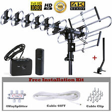 Five Star 200 Miles Outdoor 4K HDTV Antenna 360 Degree UHF/VHF/FM W/ J-Pole