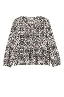 Rebecca Taylor Women's Black Long Sleeve Potpourri Paisley Ruffle Top Size 4