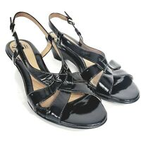 Sofft Women's Slingback Wedge Sandals 9.5 Black Patent Leather Strappy