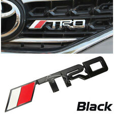 BLACK TRD Grill Badge Chrome Silver Metal JDM Front Grille Emblem USA SELLER