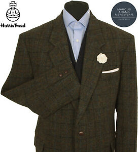 Harris Tweed Jacket Blazer 48R Country Windowpane Check Hacking Hunting Sports