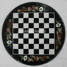 """24"""" Black Round Marble Chess Table Top Antique Marquetry Inlay Christmas Decor"""