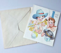 Vintage baby cowboy and girl first birthday card unused with envelope