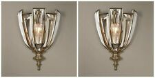 TWO BURNISHED SILVER CHAMPAGNE METAL WALL SCONCE LIGHT MODERN BEVELED CRYSTAL