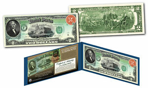 Rainbow 1869 $2 Banknote on Modern $2 US Bill - First Time Jefferson on $2 Bill
