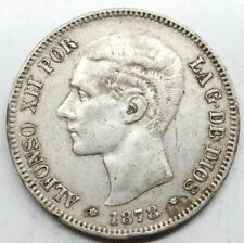 ESPAÑA ALFONSO XII 1878 *18-78 DEM 5 PESETAS MONEDA PLATA MBC+