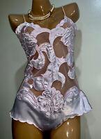 Vintage SILKY Pink TEDDY Bodysuit Camisole Slip PANTY Shiny Satin Nylon ~Sissy M