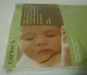 🎈Standard 28 x 52 Carter's White Waterproof Fitted Quilted Crib Pad FREE SHIP