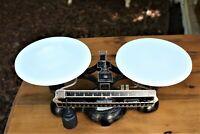Vintage Antique Ohaus Cast Iron Balance Scale Round Milk Glass Trays 2 Kilos