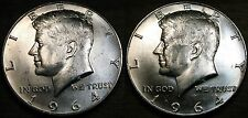 1964 P D Kennedy Half Dollar Coin Set 2 Brilliant Uncirculated Coin's From Rolls