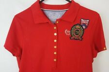8f2bb143e6b413 Retro Tommy Hilfiger Womens Short Sleeves Polo Shirt Top Crest Patch Size L  RED