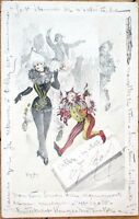 1903 Artist-Signed Postcard: Court Jester, Woman, Clown