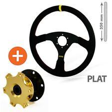 Set Lenkrad (flach) + Schnellverschluss, Schwarz, Wildleder, Racing, Rallye