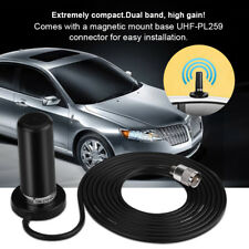 VHF UHF Vehicle Dual-Band Mobile Radio Antenna 50W+Magnetic Base PL-259 Cable 3M