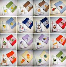 Geschirrtuch Küchenhandtuch 100 % Baumwolle Bestickt 45x70cm verschiedene Farben