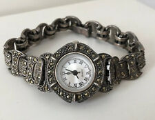 Vintage Art Deco Sterling Silver 925 Marcasite Ladies Watch 7""