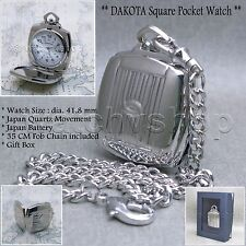 DAKOTA Silver Square Heavy Solid Brass Mens Pocket Watch GIft Fob Chain Box P58