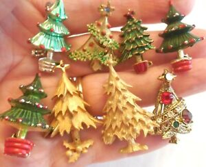 LOT  7  Different Sm Vintage CHRISTMAS TREE  Pin Brooches & 1Without Pin Back