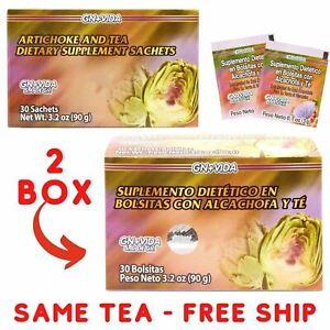 2 Te de Alcachofa Detox Tea GN+Vida ORIGINAL Artichoke Green Tea and More 60 DAY