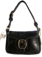 NWT Coach 11427 Bleecker Leather Small Black Flap Hobo Handbag msrp $258