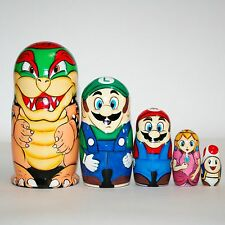 Nesting dolls Mario toy for kids modern russian matryoshka stacking doll signed