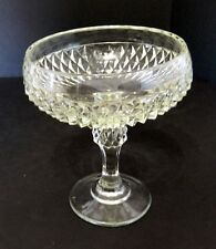 Indiana Glass Diamond Point Compote Wedding Bowl Crystal Clear Vintage