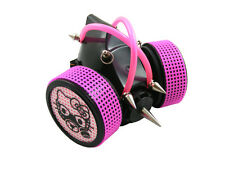 BLACK CYBER RESPIRATOR MASK SPIKES PINK TUBING STEAM KITTY RAVE GOTH STEAMPUNK