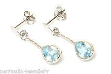 9ct White Gold Blue Topaz Teardrop Earrings Made in UK Gift Boxed Christmas Gift
