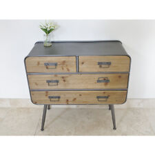 INDUSTRIAL RETRO VINTAGE RECLAIMED METAL WOOD SIDEBOARD CHEST DRAWERS (D3989)