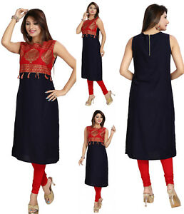 Indian Designer Party Dress Tunic Top Kurti Women WITHOUT SIZE TAG (XL44) MM93