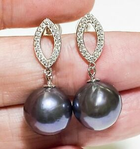 Genuine Black Purple Blue Overtone Edison Round 10.5 -11mm Pearl Dangle Earrings