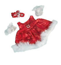 "Teddy Mountain Red Silky dress w/ Gloves and Headband Outfit Fits all 14""-18"""
