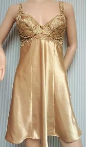 Vintage-Victoria Secret Gold Lace Chemise Nightie Satin Slip SM