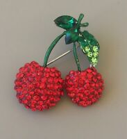Cherry pin brooch In enamel on gold Tone Metal with crystals