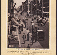 Wall Street 1890's Nicholas Hotel Broadway New York Photo Lith Advertising Card