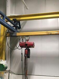 Gorbel 1 Ton Under Hung Free Standing Crane System W/Dayton 1 Ton Elect Hoist