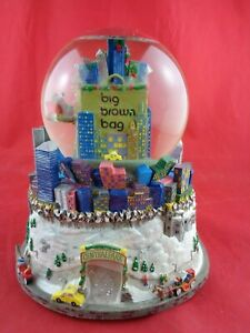 Bloomingdales Big Brown Bag Twin Towers Musical Lighted SNOW GLOBE